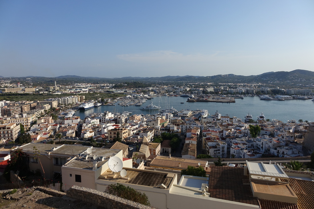 A view from the hills in Ibiza, Spain.