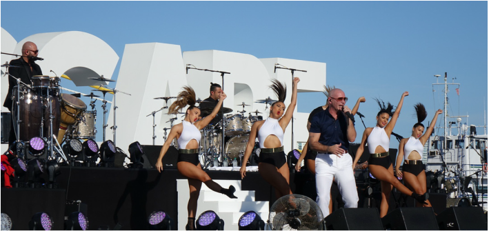 Pitbull performed during the christening ceremony in for Norwegian Escape in Miami.