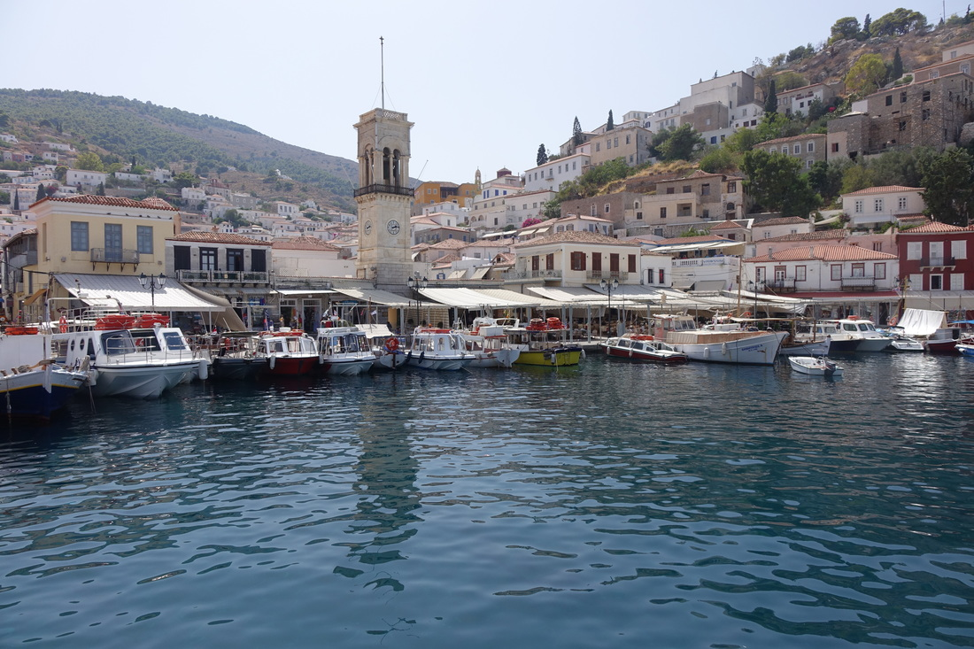 Hydra, Greece, marina. Cathedral at center of it all.