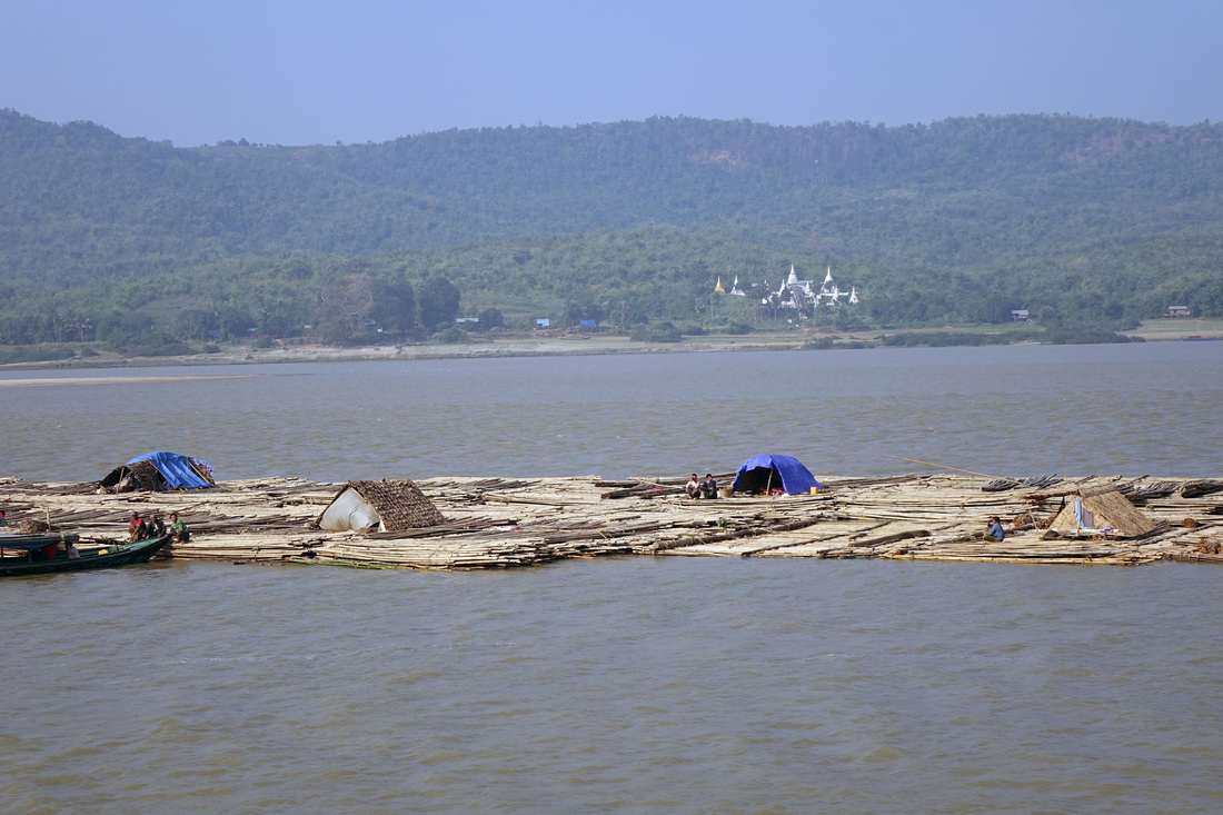 A raft of bamboo logs floats on the Irrawaddy River in Burma