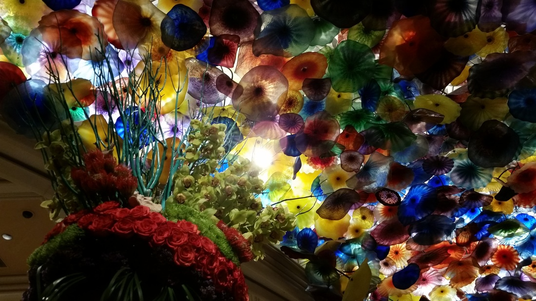 The Murano glass sculpture on the ceiling of the Bellagio Hotel and Casino in Las Vegas is a chandelier called Fiori di Como by Dale Chihuly.