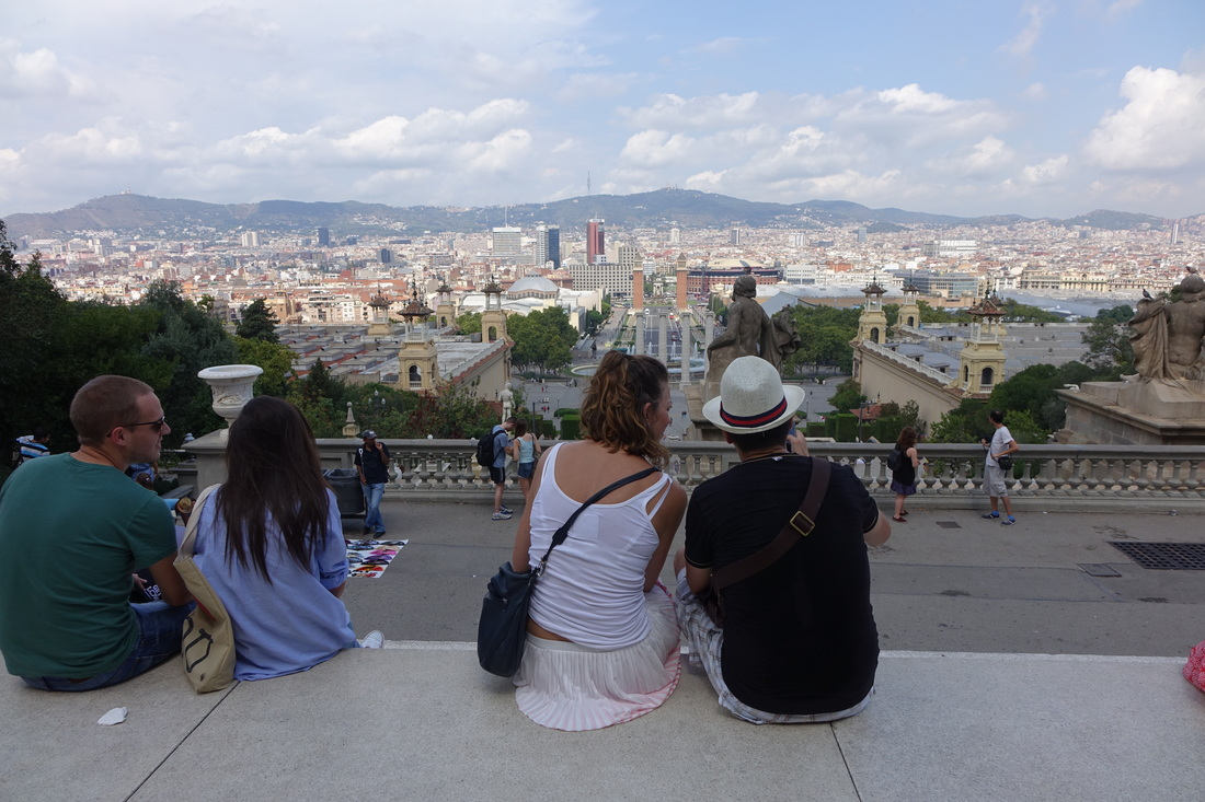 The amazing views from the front terrace of the national museum of Catalan art on Montjuic in Barcelona.