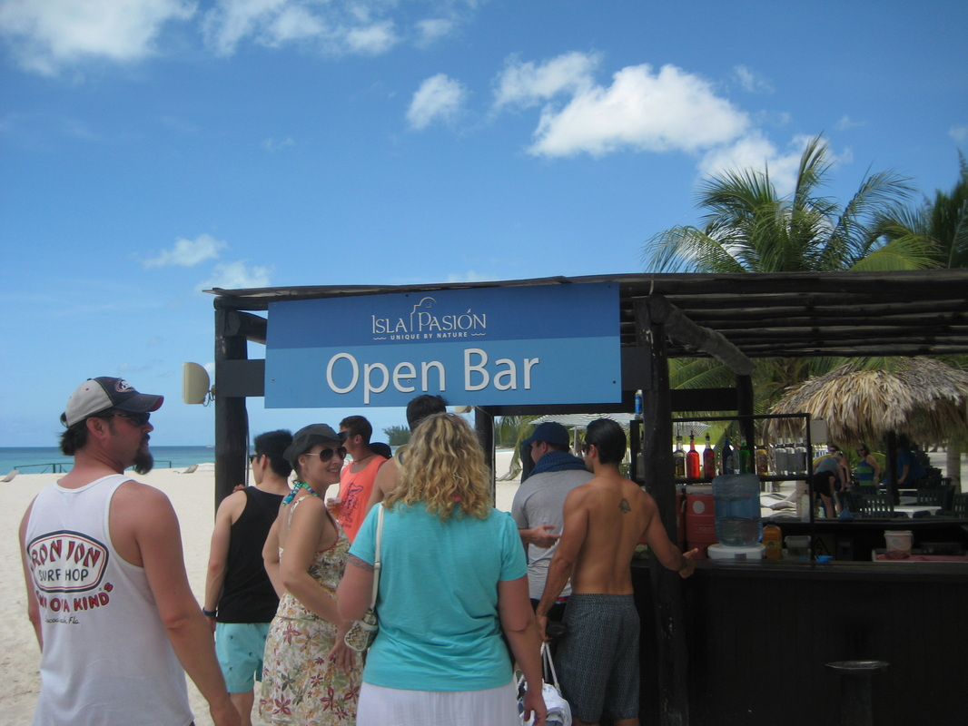 Bar service is included on Passion Island in Cozumel, Mexico