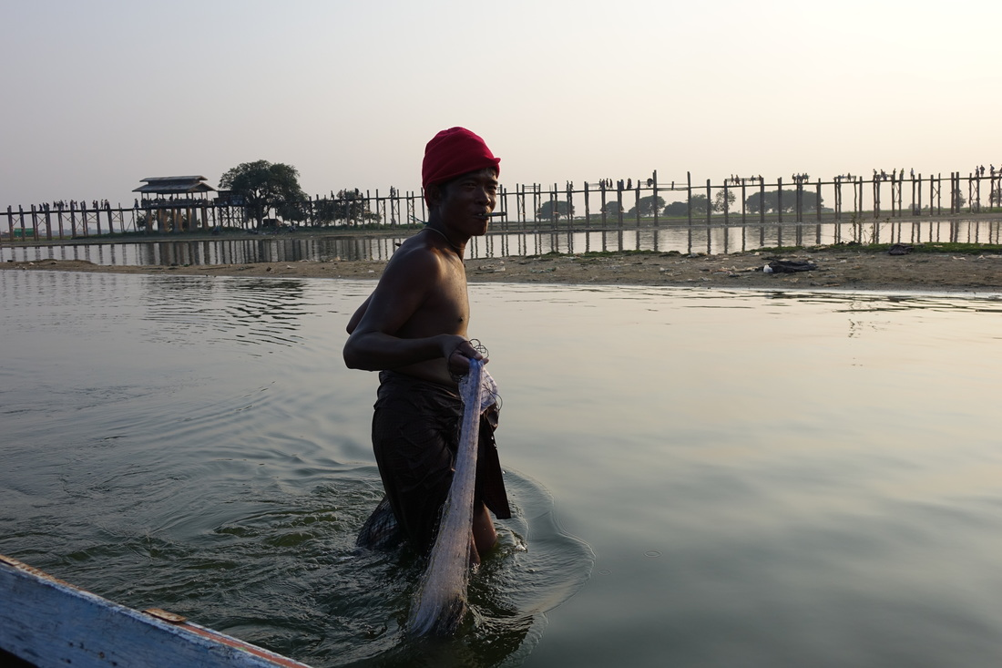 A fisherman gathers up his final catch of the day just before sunset in the shadow of U Bein Bridge on Taungthaman Lake in Amarapura in Burma