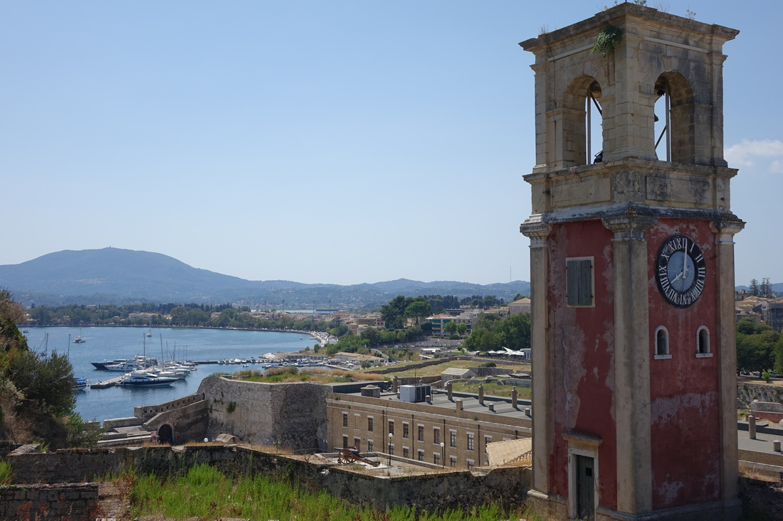 Old Fortress clock tower in Corfu, Greece