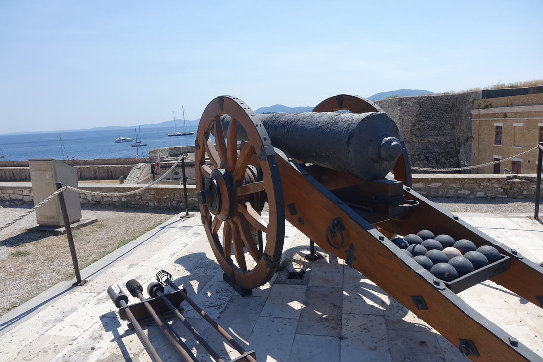 Cannon on display at Old Fortress in Corfu, Greece.