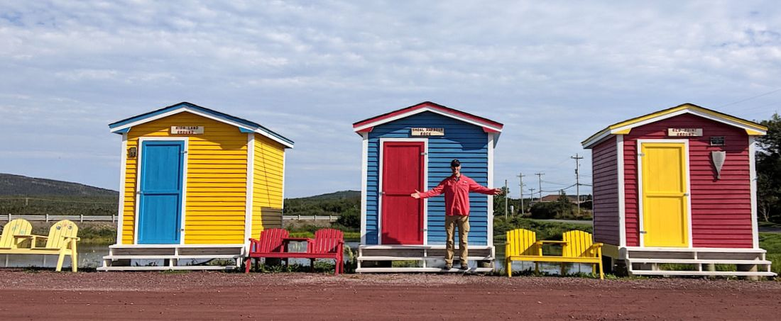 The colorful fishing shacks at Heart's Delight bay on Newfoundland