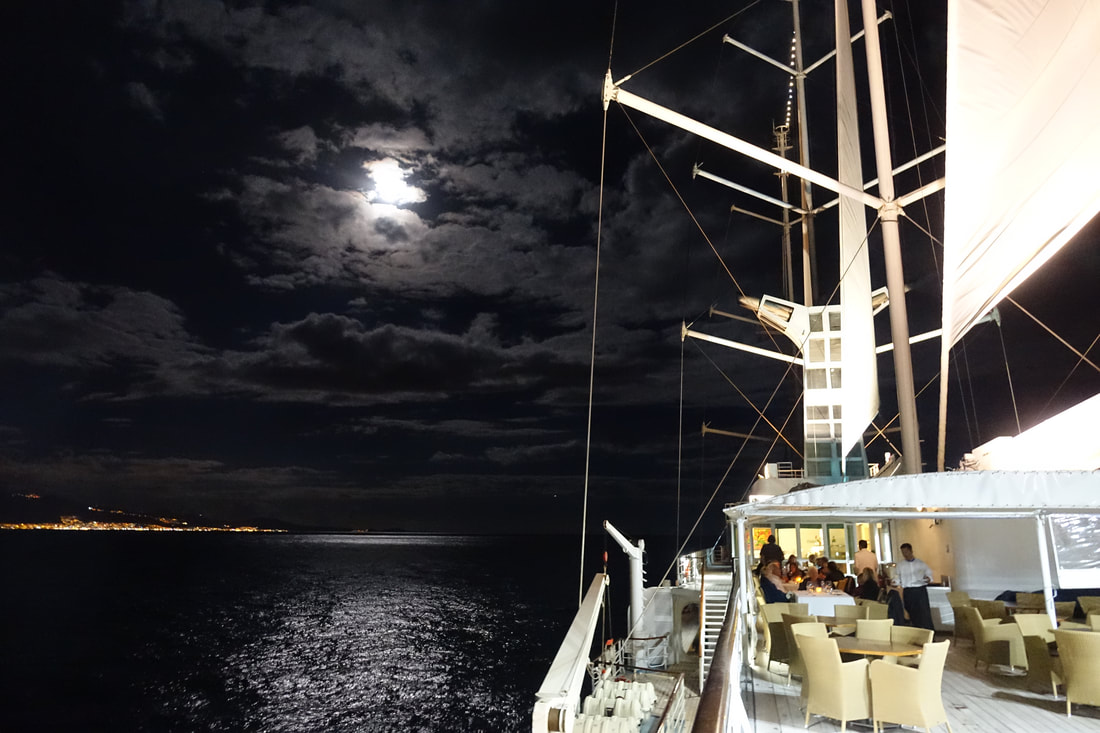 Moonlight in the Canary Islands sailing on Windstar Cruises Wind Surf