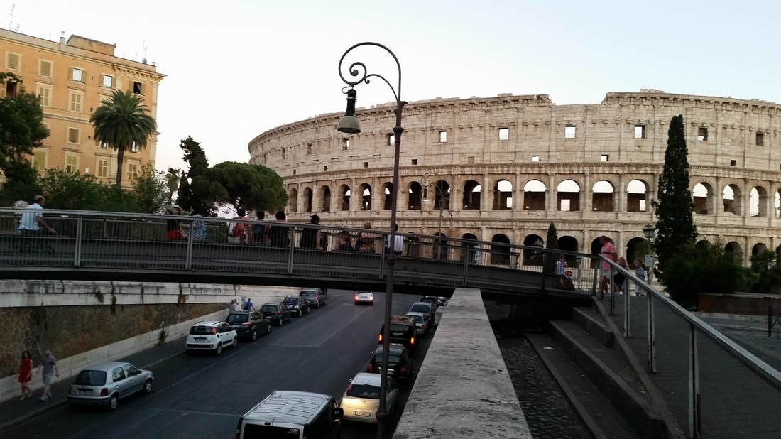 Rome's Coliseum viewing from bridge