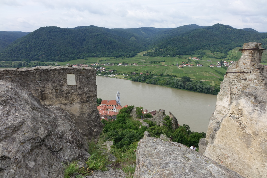 Hill high over Durnstein, Austria, on the Danube River