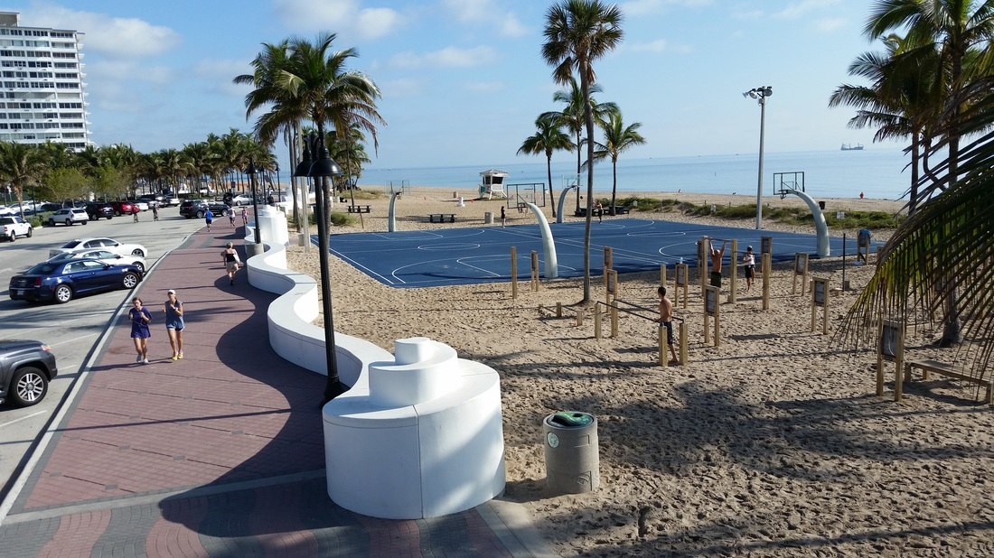 Fort Lauderdale Beach basketball courts and outdoor fitness area