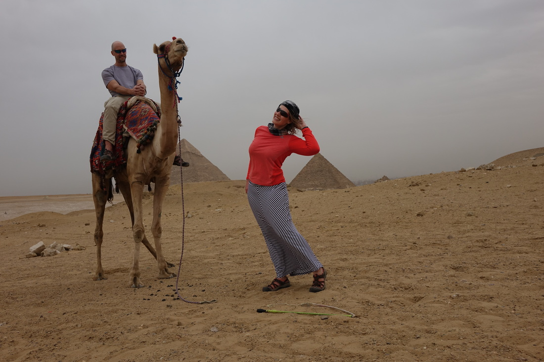 Great Pyramids of Giza on a camel ride