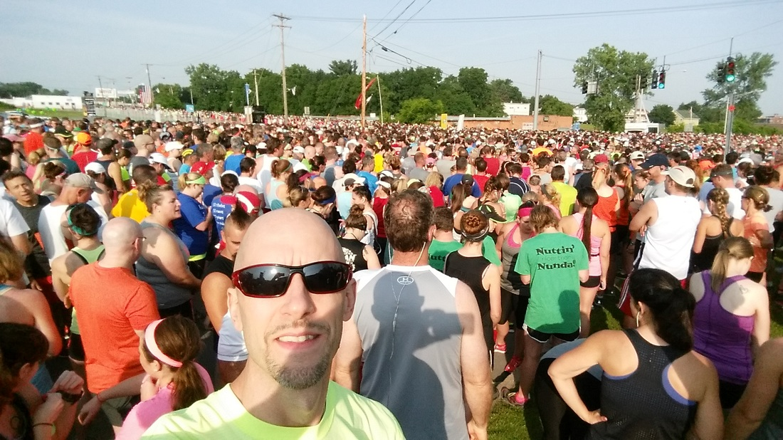 Start line at the Boilermaker 15K road race in Utica, New York