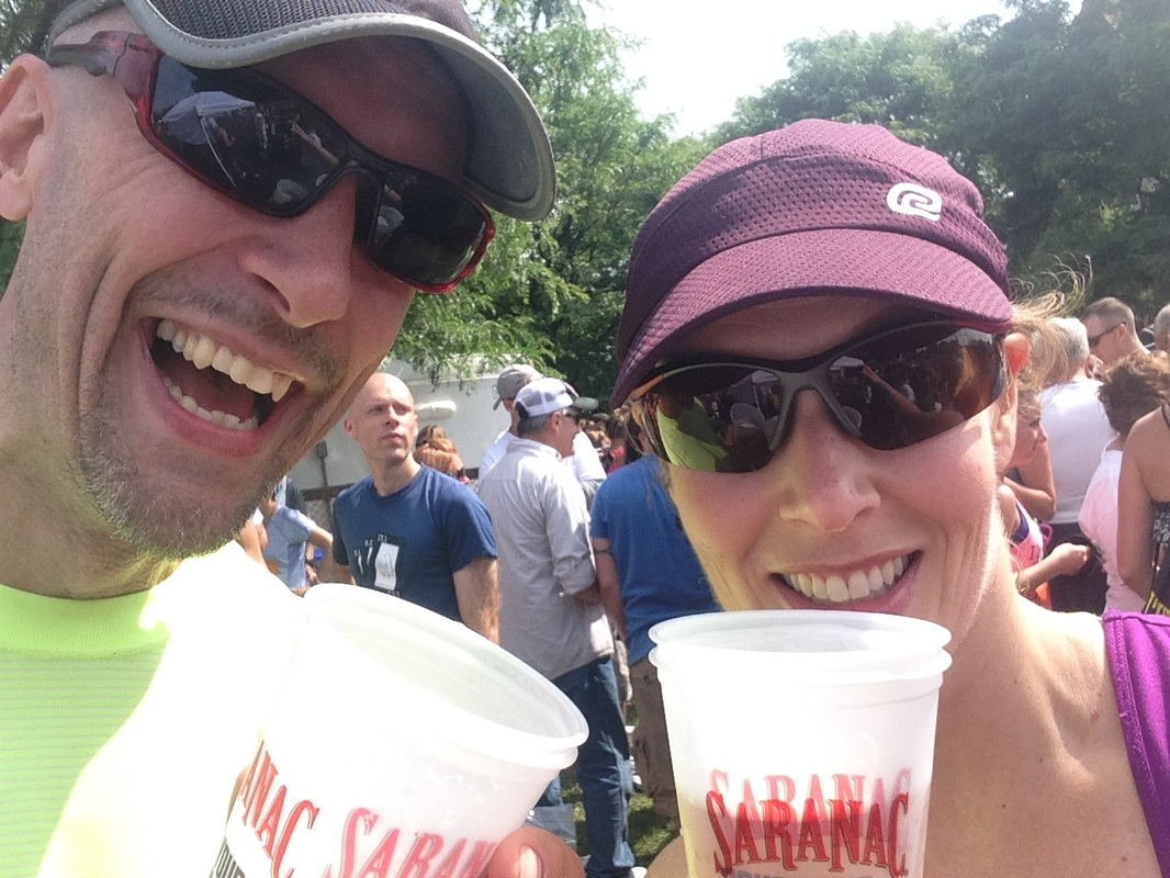 Post-race party at the Saranac Brewery at the Boilermaker 15K road race in Utica, New York