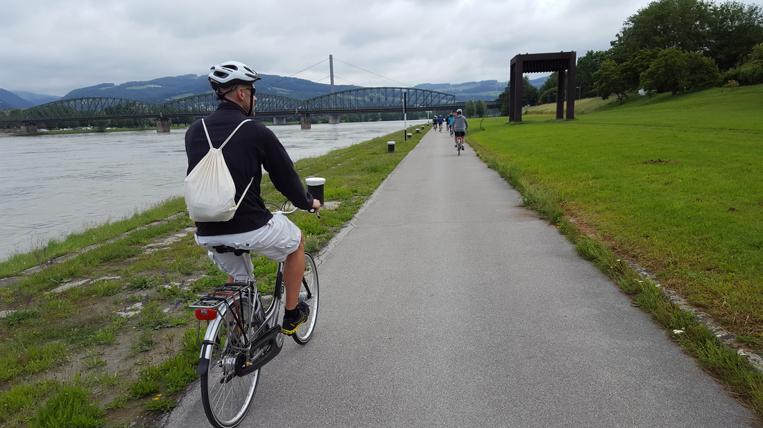 Biking along the Danube River in Linz, Austria, with AmaWaterways