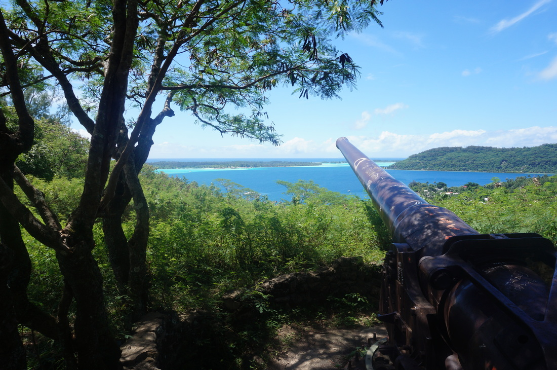 U.S. artillery gun from World War II on Bora Bora