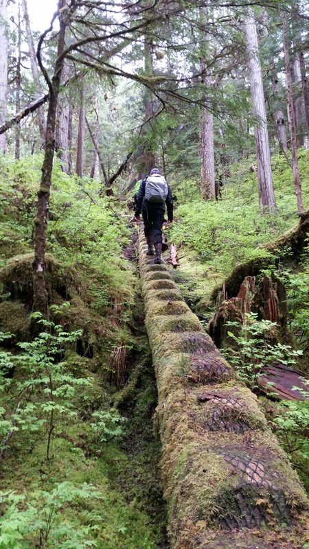 Hiking to Cascade Falls in Tongass National Forest in Alaska