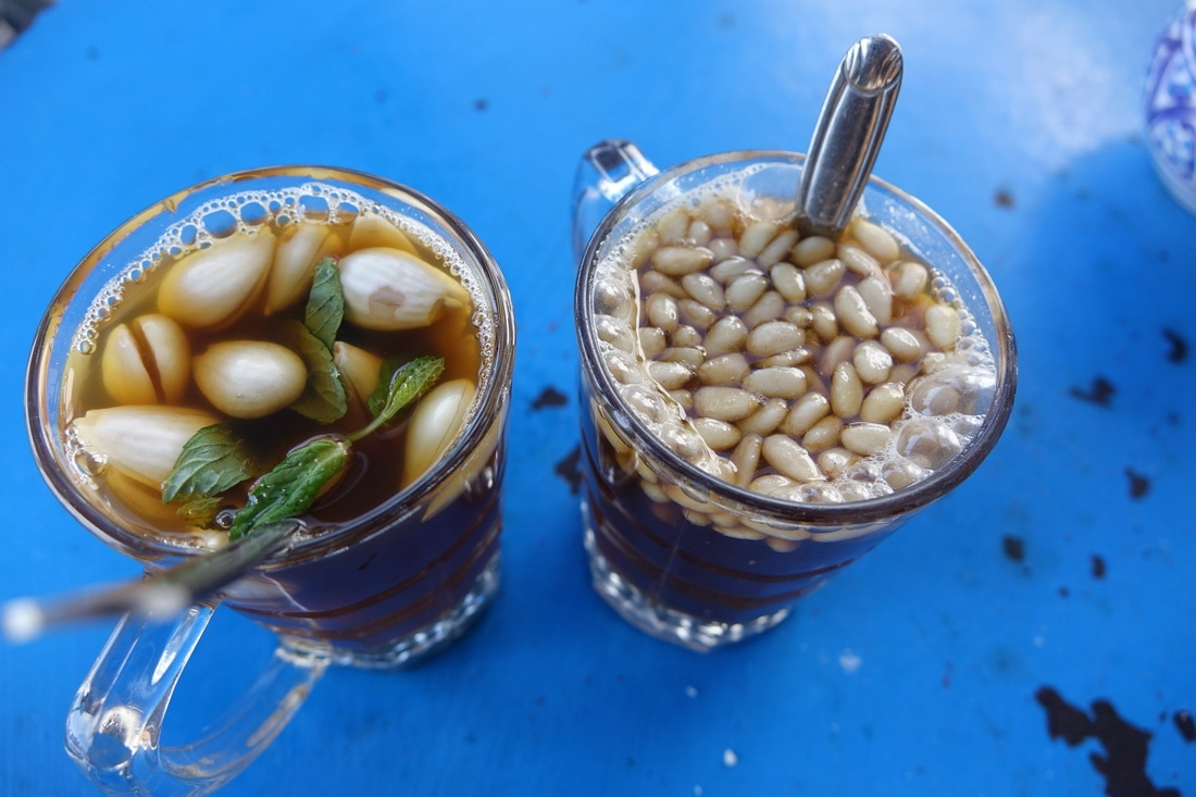 Sidi Bou Said, almond and pine nut tea in Tunisia