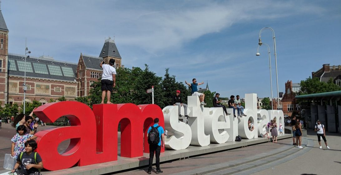 I Amsterdam sign in Amsterdam at museum square