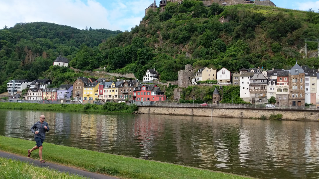 Running along the Moselle River in Cochem, Germany
