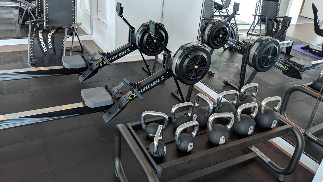 Kettlebells and rowing machines on Celebrity Edge