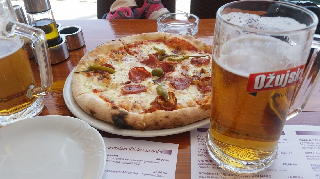 Primosten, Croatia pizza and beer