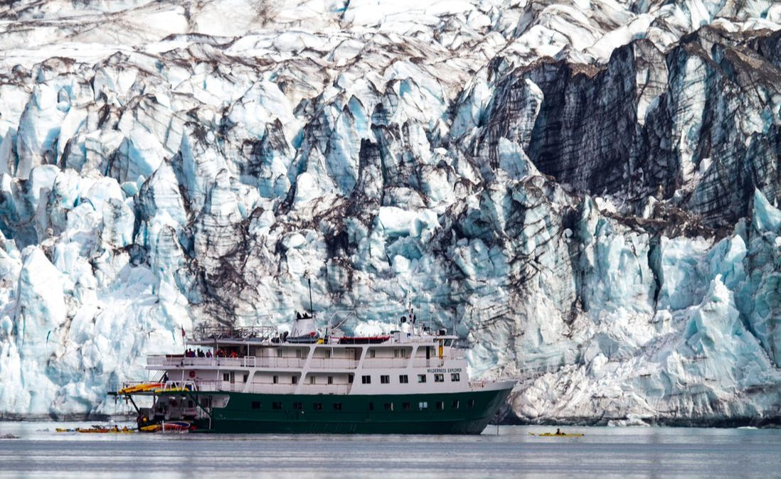 UnCruise Adventures in Alaska, ship in a fjord